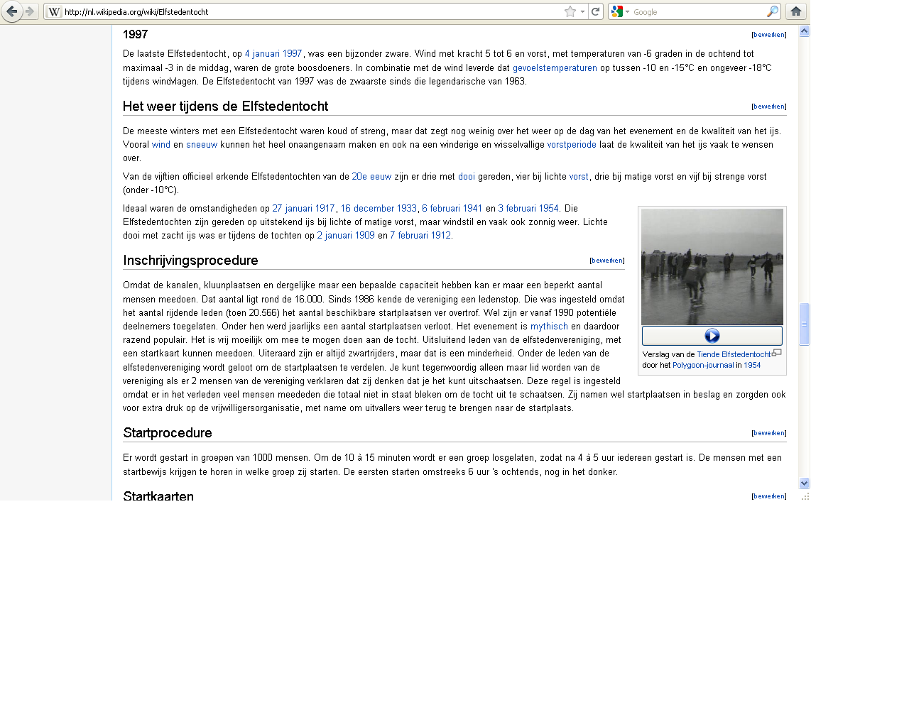 A video from Open Images on the Wikipedia lemma 'Elfstedentocht'