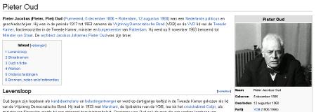 Het lemma 'Pieter Oud' met een screenshot gebruikt als foto