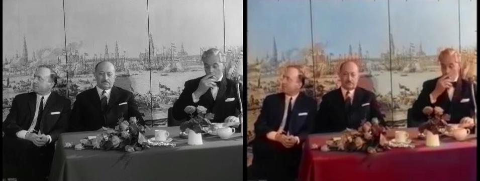 Twee stills uit de film 'Actie voor Wiesenthal', waarbij de rechter is ingekleurd. Bron: Polygoon-Profilti (producent) / Nederlands Instituut voor Beeld en Geluid (beheerder) / ingekleurd door Rudy Marsman, CC BY-SA