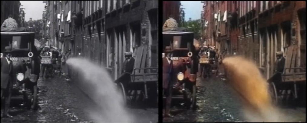 Twee stills uit de film 'Steegjes', waarbij de rechter is ingekleurd. CC BY-SA